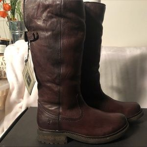 Frye Shoes - Frye Valerie Shearling Pull On Boots in Dark Brown